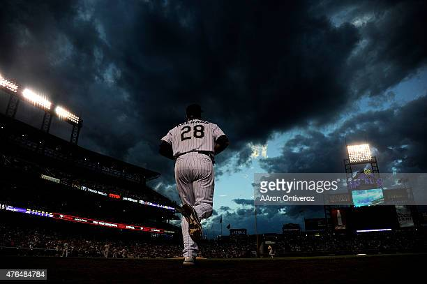 Nolan Arenado of the Colorado Rockies takes the field against the St Louis Cardinals during a National League showdown The Colorado Rockies hosted...