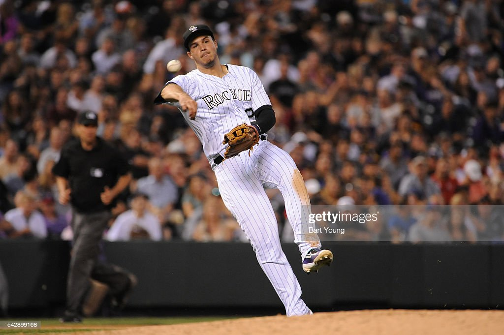 Nolan Arenado #28 of the Colorado Rockies throws to first base in the sixth inning against the Arizona Diamondbacks at Coors Field on June 24, 2016 in Denver, Colorado. The Diamondbacks defeat the Rockies 10-9.