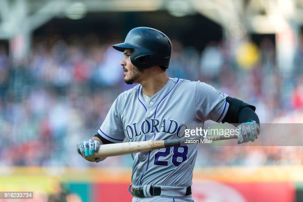 Nolan Arenado of the Colorado Rockies warms up prior to the game against the Cleveland Indians at Progressive Field on August 8 2017 in Cleveland Ohio