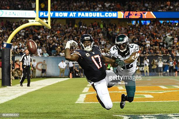 Nolan Carroll of the Philadelphia Eagles breaks up the pass for Alshon Jeffery of the Chicago Bears in the first half at Soldier Field on September...