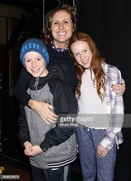 Nolan Chesnut mother Molly Shannon and daughter Stella Chesnut pose backstage at the hit musical School of Rock on Broadway at The Winter Garden...