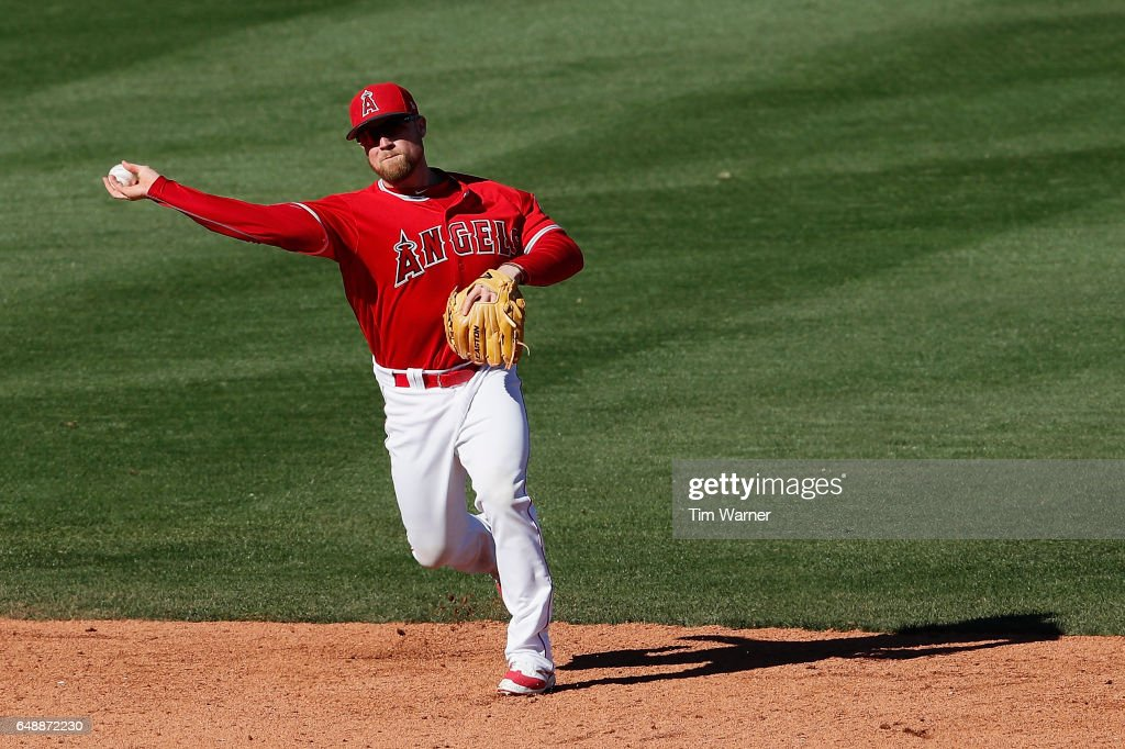 Nolan Fontana #49 of the Los Angeles Angels makes a play to first for an out against the Chicago Cubs during the spring training game at Tempe Diablo Stadium on March 6, 2017 in Tempe, Arizona.
