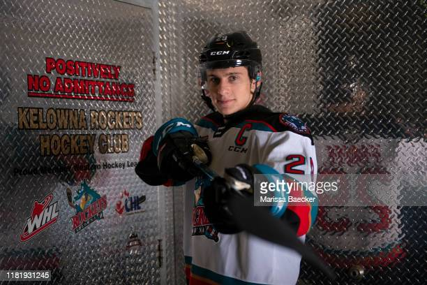 Nolan Foote is announced as the Kelowna Rockets 25th Captain at Prospera Place on October 18, 2019 in Kelowna, Canada. Foote was selected by the...
