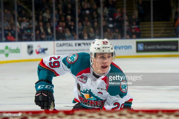 Nolan Foote of the Kelowna Rockets calls for the pass in front of the net against the Prince George Cougars at Prospera Place on January 4 2019 in...