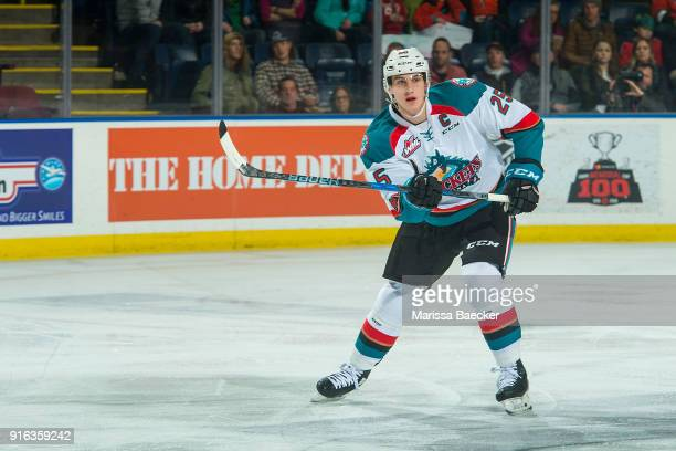 Nolan Foote of the Kelowna Rockets completes a pass against the Lethbridge Hurricanes at Prospera Place on January 17 2018 in Kelowna Canada