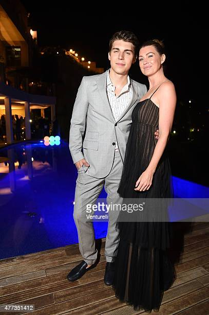 Nolan Gerard Funk and Ellen Pompeo attend Gala Dinner 61st Taormina Film Fest at Hotel Metropole on June 16 2015 in Taormina Italy