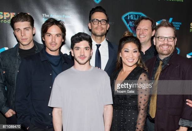 Nolan Gerard Funk Tyler Blackburn Al Calderon Cheyenne Jackson Jenna Ushkowitz Tom Gustafson and Cory Krueckeberg attends the Hello Again New York...