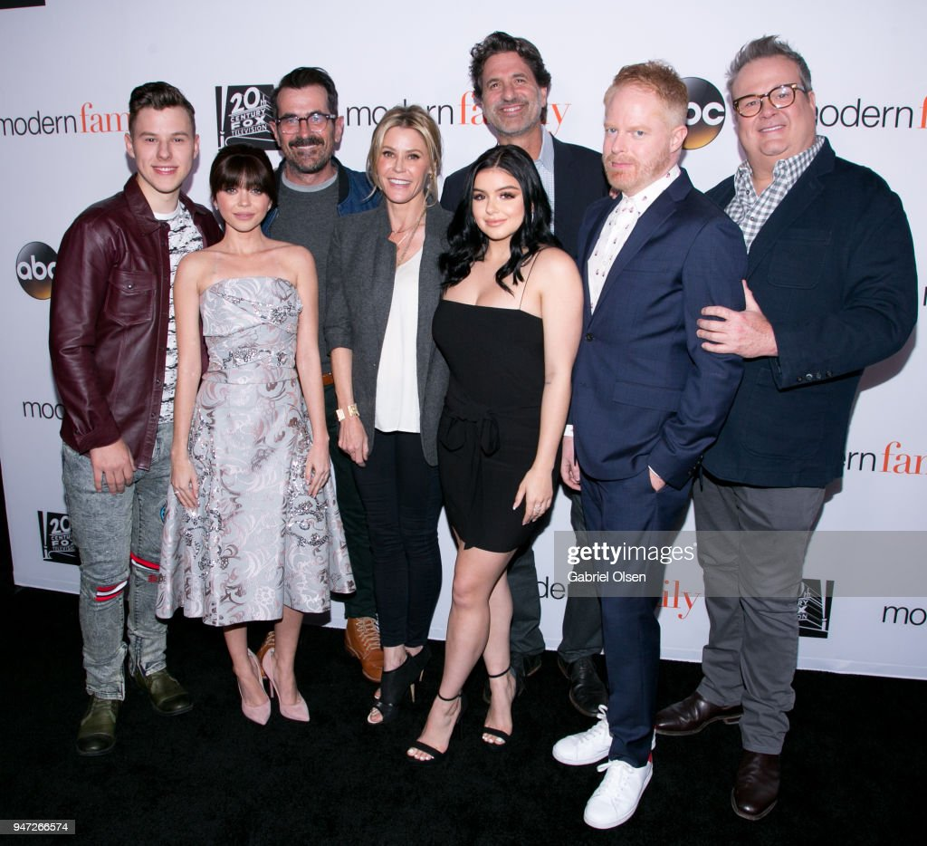 Nolan Gould, Sarah Hyland, Ty Burrell, Julie Bowen, Ariel Winter, Steven Levitan, Jesse Tyler Ferguson and Eric Stonestreet arrives for the FYC Event for ABC's 'Modern Family' at Avalon on April 16, 2018 in Hollywood, California.