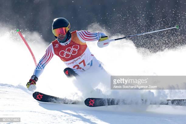 Nolan Kasper of USA competes during the Alpine Skiing Men's Slalom at Yongpyong Alpine Centre on February 22 2018 in Pyeongchanggun South Korea