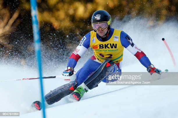 Nolan Kasper of USA competes during the Audi FIS Alpine Ski World Cup Men's Slalom on January 14 2018 in Wengen Switzerland