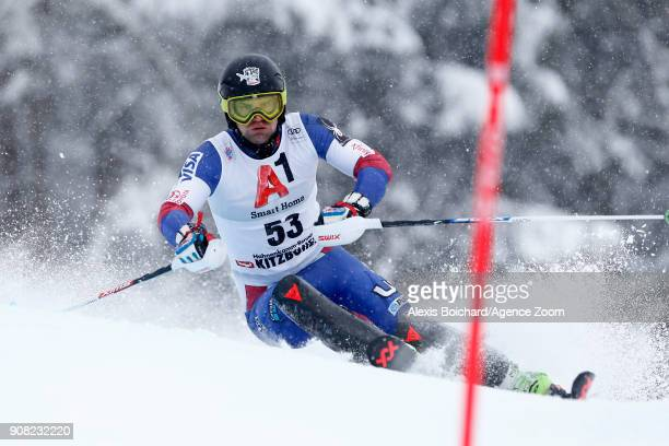Nolan Kasper of USA competes during the Audi FIS Alpine Ski World Cup Men's Slalom on January 21 2018 in Kitzbuehel Austria