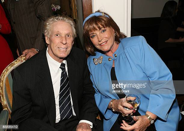Nolan Miller and Joanna Carson attend the wedding of Michael Feinstein and Terrence Flannery held at a private residence on October 17 2008 in Los...
