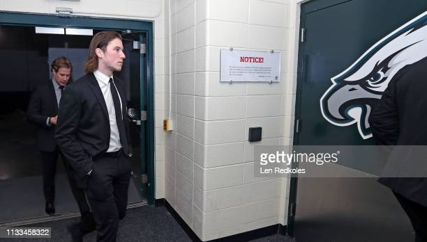 Nolan Patrick and Corbin Knight of the Philadelphia Flyers arrive to the stadium prior to their game against the Pittsburgh Penguins at the 2019...