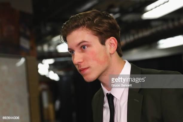 Nolan Patrick looks on during media availability for 2017 NHL draft prospects prior to Game Four of the 2017 NHL Stanley Cup Final at the Bridgestone...