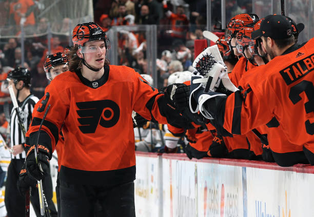 Nolan Patrick of the Philadelphia Flyers celebrates a second period goal with teammates against the Buffalo Sabres on February 26, 2019 at the Wells...