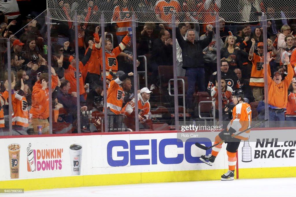 Nolan Patrick #19 of the Philadelphia Flyers celebrates after scoring a third period goal against the Boston Bruins at Wells Fargo Center on April 1, 2018 in Philadelphia, Pennsylvania.