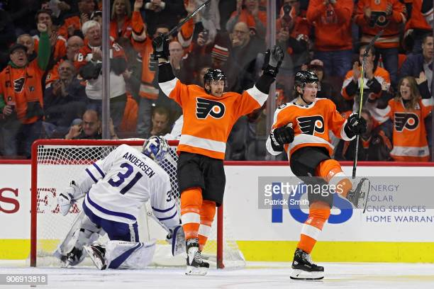 Nolan Patrick of the Philadelphia Flyers celebrates his goal against the Toronto Maple Leafs during the third period at Wells Fargo Center on January...