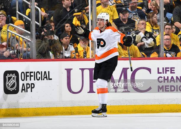 Nolan Patrick of the Philadelphia Flyers celebrates his goal during the third period against the Pittsburgh Penguins in Game Two of the Eastern...