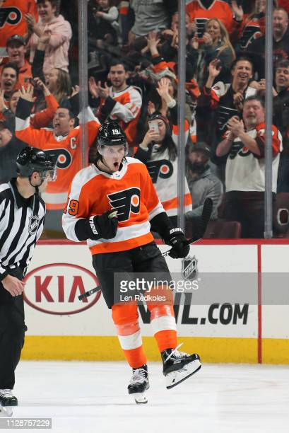 Nolan Patrick of the Philadelphia Flyers celebrates his shootout goal against the Los Angeles Kings on February 7 2019 at the Wells Fargo Center in...