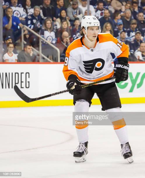 Nolan Patrick of the Philadelphia Flyers keeps an eye on the play during second period action against the Winnipeg Jets at the Bell MTS Place on...