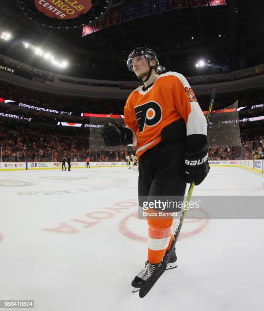 Nolan Patrick of the Philadelphia Flyers leaves the ice following a loss to the Pittsburgh Penguins in Game Six of the Eastern Conference First Round...