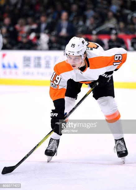 Nolan Patrick of the Philadelphia Flyers lines up for a faceoff during opening night of the Los Angeles Kings 20172018 season at Staples Center on...