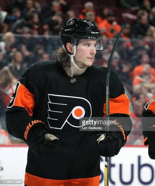 Nolan Patrick of the Philadelphia Flyers looks on against the Anaheim Ducks on February 9 2019 at the Wells Fargo Center in Philadelphia Pennsylvania