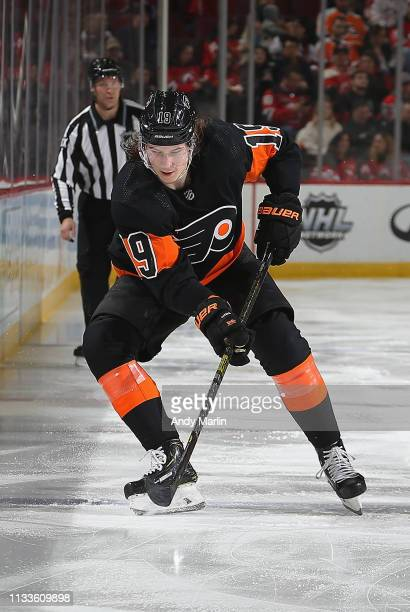 Nolan Patrick of the Philadelphia Flyers plays the puck during the game against the New Jersey Devils at Prudential Center on March 1 2019 in Newark...