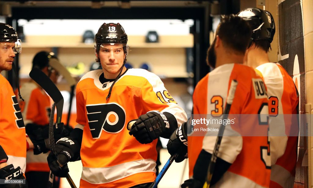 Nolan Patrick #19 of the Philadelphia Flyers prepares to enter the ice surface for warm-ups prior to his game against the Florida Panthers on October 17, 2017 at the Wells Fargo Center in Philadelphia, Pennsylvania.