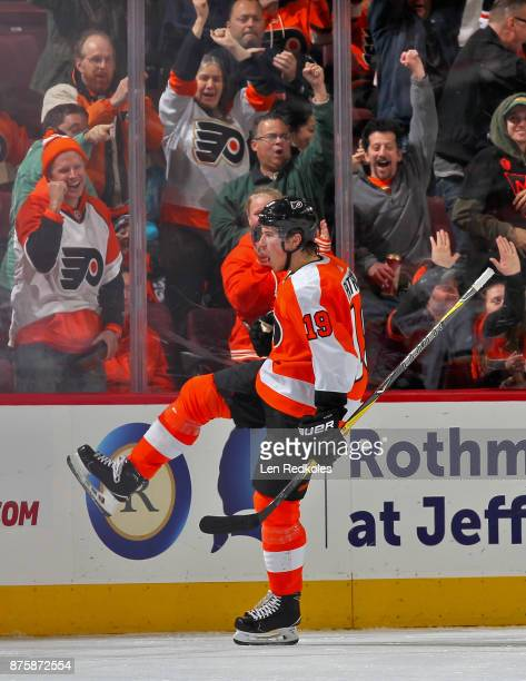 Nolan Patrick of the Philadelphia Flyers reacts after scoring a second period goal against the Calgary Flames on November 18 2017 at the Wells Fargo...