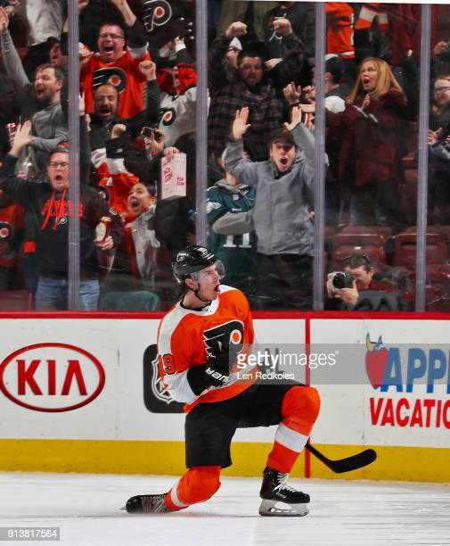 Nolan Patrick of the Philadelphia Flyers reacts after scoring the gametying goal with three seconds remaining in the third period against the Ottawa...