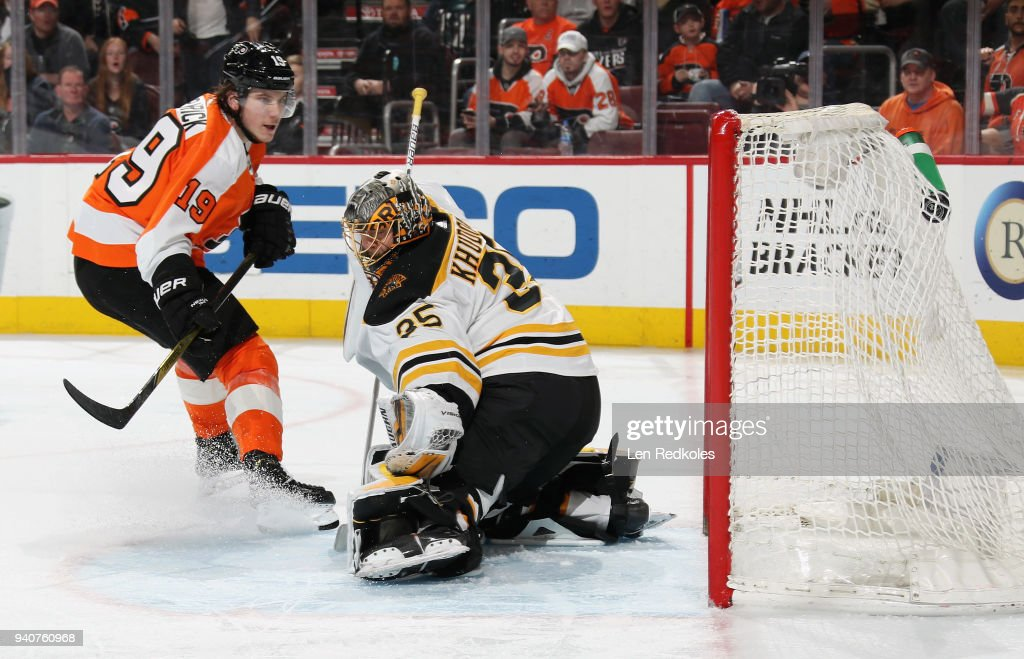 Nolan Patrick #19 of the Philadelphia Flyers scores a third period goal against Anton Khudobin #35 of the Boston Bruins on April 1, 2018 at the Wells Fargo Center in Philadelphia, Pennsylvania. The Flyers went on to defeat the Bruins in overtime 4-3.
