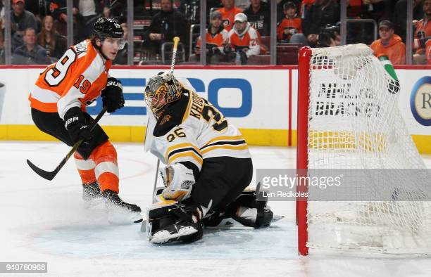 Nolan Patrick of the Philadelphia Flyers scores a third period goal against Anton Khudobin of the Boston Bruins on April 1 2018 at the Wells Fargo...