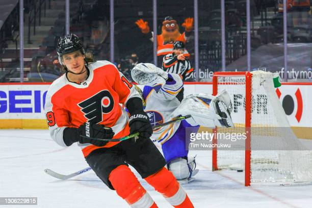 Nolan Patrick of the Philadelphia Flyers scores during a penalty shootout against the Buffalo Sabres at Wells Fargo Center on March 09, 2021 in...