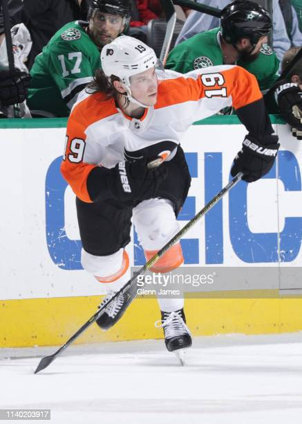 Nolan Patrick of the Philadelphia Flyers skates against the Dallas Stars at the American Airlines Center on April 2 2019 in Dallas Texas