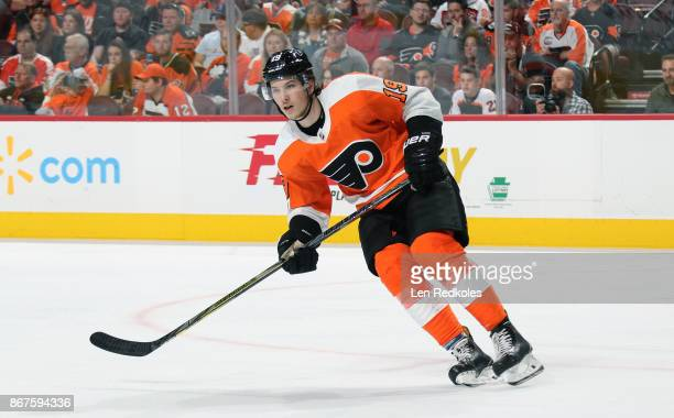Nolan Patrick of the Philadelphia Flyers skates against the Edmonton Oilers on October 21 2017 at the Wells Fargo Center in Philadelphia Pennsylvania