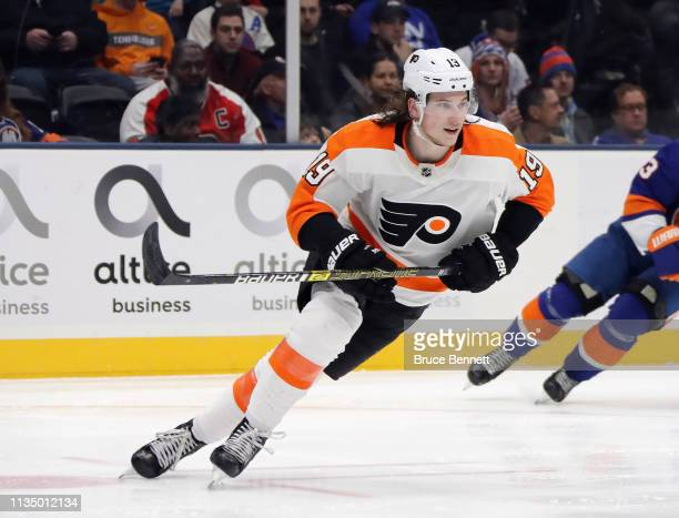 Nolan Patrick of the Philadelphia Flyers skates against the New York Islanders at NYCB Live's Nassau Coliseum on March 09 2019 in Uniondale New York...