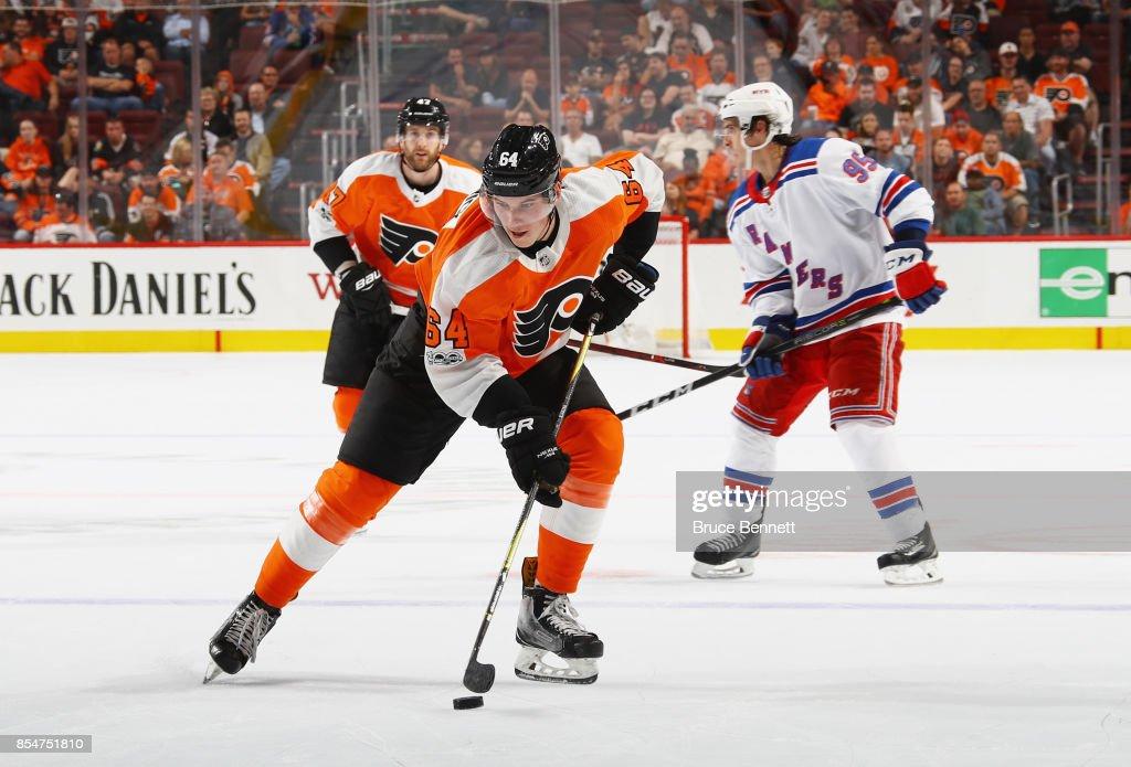 Nolan Patrick #64 of the Philadelphia Flyers skates against the New York Rangers during a preseason game at the Wells Fargo Center on September 26, 2017 in Philadelphia, Pennsylvania.