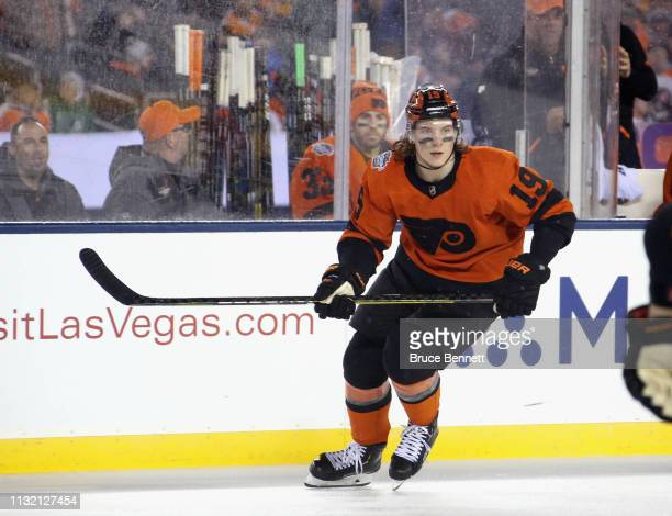 Nolan Patrick of the Philadelphia Flyers skates against the Pittsburgh Penguins during the 2019 Coors Light NHL Stadium Series game at the Lincoln...
