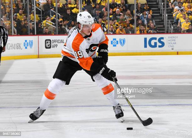Nolan Patrick of the Philadelphia Flyers skates against the Pittsburgh Penguins in Game Two of the Eastern Conference First Round during the 2018 NHL...
