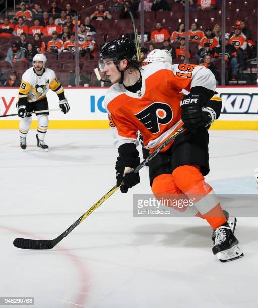 Nolan Patrick of the Philadelphia Flyers skates against the Pittsburgh Penguins in Game Three of the Eastern Conference First Round during the 2018...