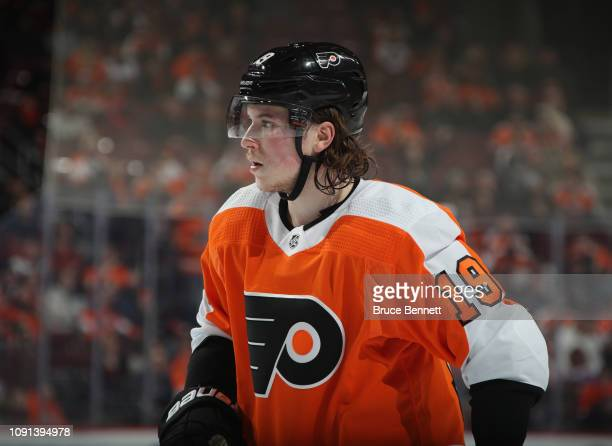 Nolan Patrick of the Philadelphia Flyers skates against the St Louis Blues at the Wells Fargo Center on January 07 2019 in Philadelphia Pennsylvania...