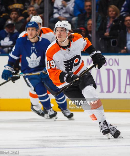 Nolan Patrick of the Philadelphia Flyers skates against the Toronto Maple Leafs during the first period at the Scotiabank Arena on November 24 2018...