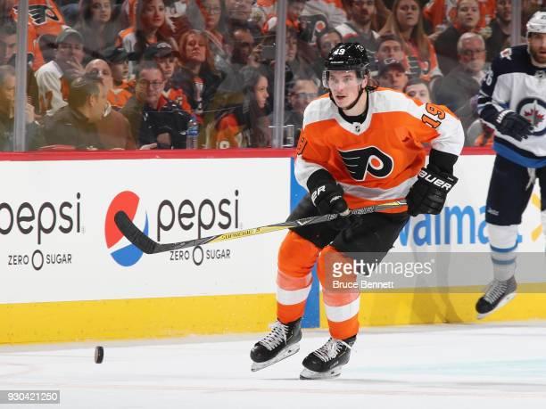 Nolan Patrick of the Philadelphia Flyers skates against the Winnipeg Jets at the Wells Fargo Center on March 10 2018 in Philadelphia Pennsylvania