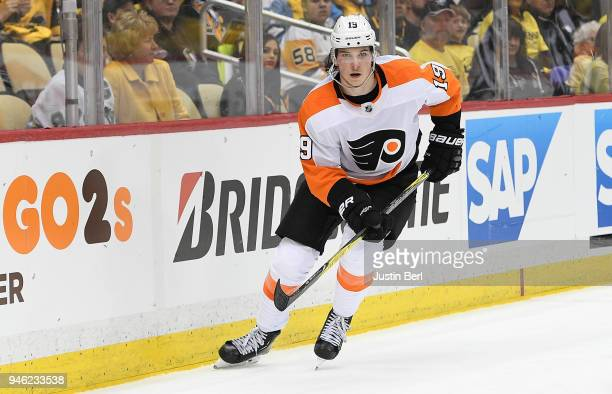 Nolan Patrick of the Philadelphia Flyers skates during the third period in Game One of the Eastern Conference First Round during the 2018 NHL Stanley...
