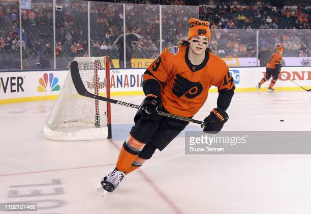 Nolan Patrick of the Philadelphia Flyers skates in warmups prior to the game against the Pittsburgh Penguins during the 2019 Coors Light NHL Stadium...