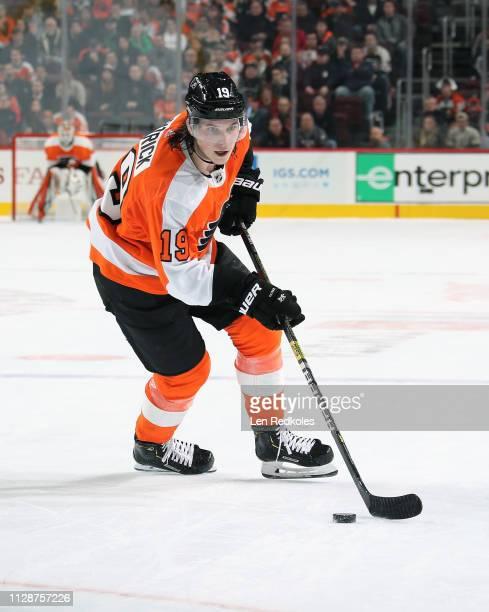 Nolan Patrick of the Philadelphia Flyers skates the puck against the Los Angeles Kings on February 7 2019 at the Wells Fargo Center in Philadelphia...