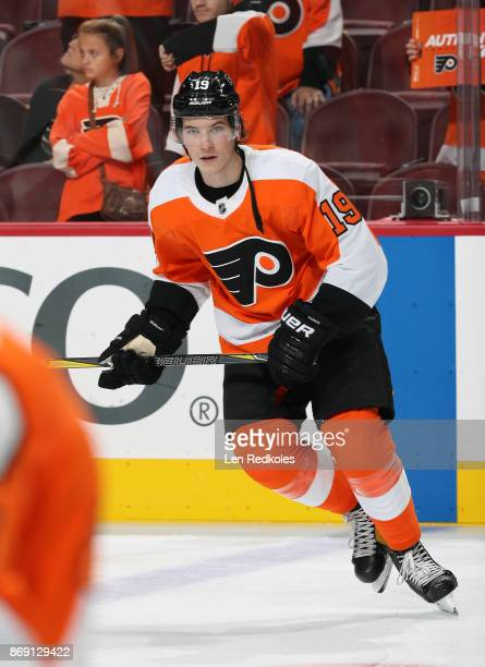 Nolan Patrick of the Philadelphia Flyers warms up against the Anaheim Ducks on October 24 2017 at the Wells Fargo Center in Philadelphia Pennsylvania