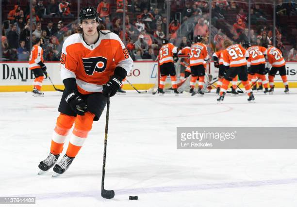Nolan Patrick of the Philadelphia Flyers warms up against the Montreal Canadiens on March 19 2019 at the Wells Fargo Center in Philadelphia...