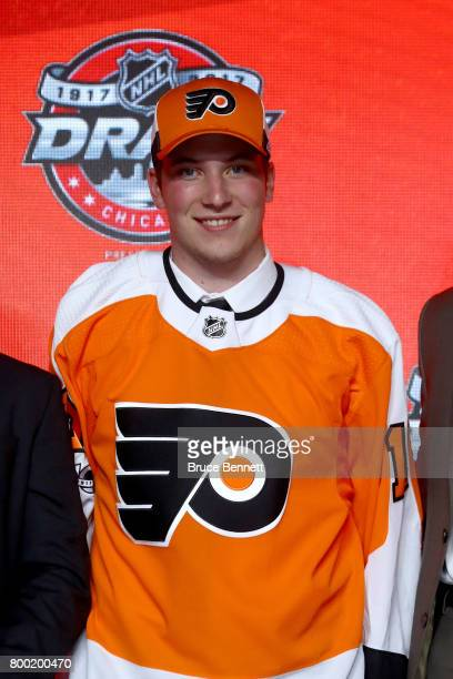 Nolan Patrick poses for photos after being selected second overall by the Philadelphia Flyers during the 2017 NHL Draft at the United Center on June...